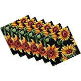 Naanle Sunflower Cloth Napkins Dinner Table Napkins Set of 6, Floral Flower Solid Washable Reusable Polyester Napkins with Hemmed Edges for Home Holiday Party Wedding Oversized 20 x 20 in