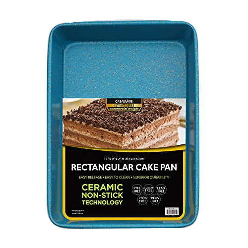 casaWare 13 x 9 x 2-inch Ultimate Series Commercial Weight Ceramic Non-Stick Coating Rectangular Cake Pan (Blue Granite)