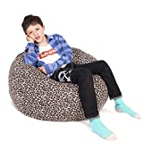 Lukeight Stuffed Animal Storage Bean Bag Chair Cover for Kids and Adults, Storage Bean Bag with Zipper for Organizing Kids Stuffed Animals, Bean Bag Cover (No Beans), X-Large/Leopard Print