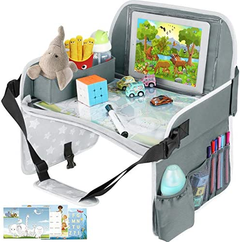 Kids Travel Tray Toddler Car Seat Tray with Dry Erase Board Collapsible Lap Car Seat Travel product image