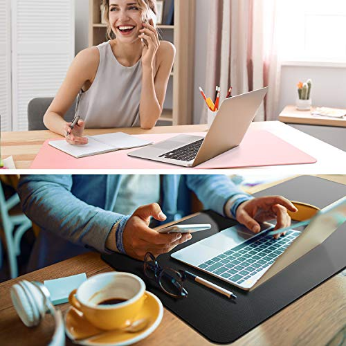 """Non-Slip Desk Pad,Mouse Pad,Waterproof PVC Leather Desk Table Protector,Ultra Thin Large Desk Blotter, Easy Clean Laptop Desk Writing Mat for Office Work/Home/Decor(Pink, 31.5"""" x 15.7"""") Photo #7"""