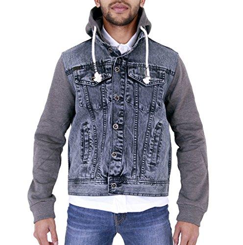 Mens Denim Jacket Acid Black with Grey Sleeves Small