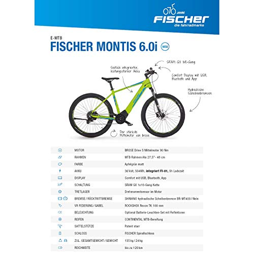 E-MTB FISCHER  MTB MONTIS 60i (2019) grün E-Mountainbike Bild 4*