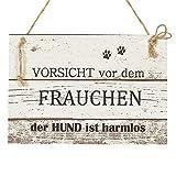 Hunde Wand Deko Holzschild mit Spruch im Shabby Chic Vintage Stil (29x20x0,5cm) - Vorsicht vor dem Frauchen der Hund ist harmlos - die Geschenkidee für Hundebesitzer und Hundeliebhaber
