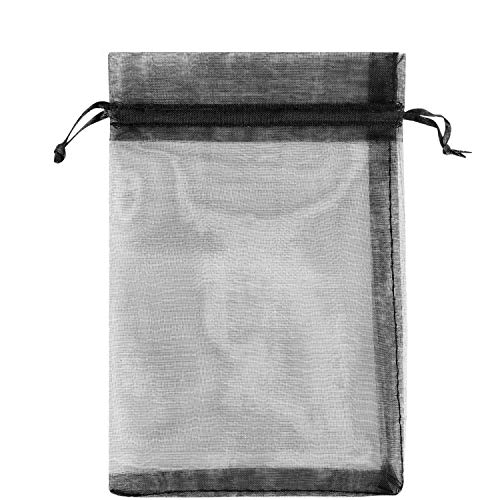 100 bolsas de regalo de 10 x 15 cm, tela de tul transparente de organza, bolsa de cordón blanco, Negro, Pequeño