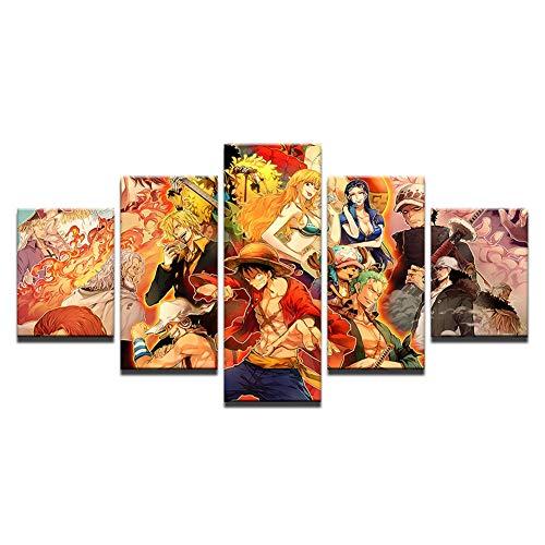 FJLOVE Impresiones de póster en HD One Piece CuadrosenLienzo de Dios Juego de 5 combinables Decorativas Decoración,B,50x25cm