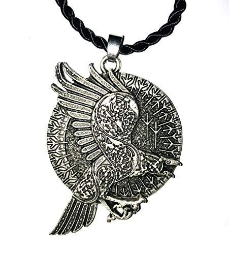 Collar de cuervo celta con círculo de runas vikingos - Colgante 3D grabado en la parte delantera y trasera - Potente símbolo místico esotérico alquímico - Regalo original Unisex Mujer Hombre
