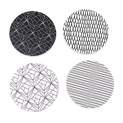 Flanacom Juego de 4 posavasos de diseño abstracto – Posavasos de cerámica decorativos para vasos, tazas, jarrones, velas y ollas en su mesa de comedor – Diseño abstracto premium (juego de 4)