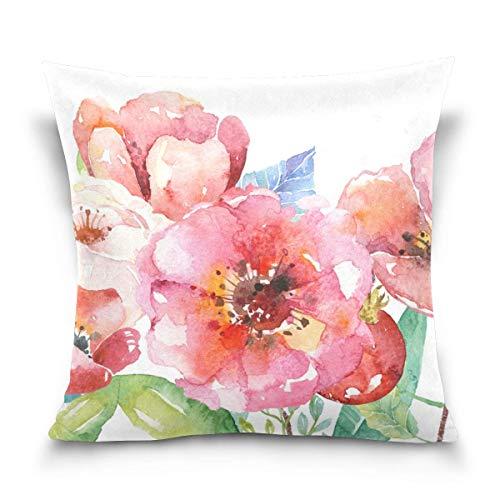 Hangdachang Fundas de almohada cuadradas de 45,7 x 45,7 cm con impresión de doble cara y cremallera, para decoración de sofá, cama, color rosa y blanco