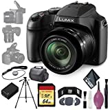 Panasonic Lumix DC-FZ80 Digital Camera - Cleaning Kit - Card Wallet & Reader - 128GB - Case - 72' Tripod - BPDC9 Battery - Lens Cap Keeper