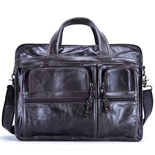 HKANG® Businesstasche Herren Leder Aktentasche Männer Handtasche Vintage Laptoptasche Arbeitstasche Umhängetasche Schultertasche für 15.6 Zoll Notebook,GreenCoffee