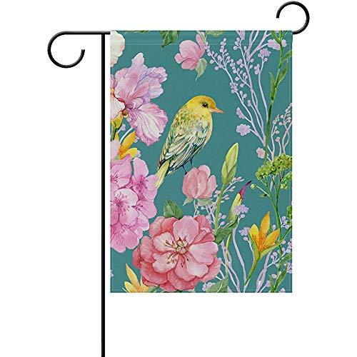 Starooct Floral Flowers Robin Birds Summer Spring Garden Yard Flag Banner for Outside House Flower Pot Double Side Print 12' x 18'