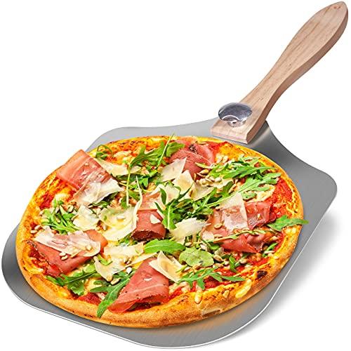 GreenerHome Metal Pizza Peel- Premium 100% Food Grade Stainless Steel Pizza Peel- Aluminum Free Large Pizza Peel 12 inch x 14 inch Pizza Peel- Wood Folding Pizza Peel Long Handle