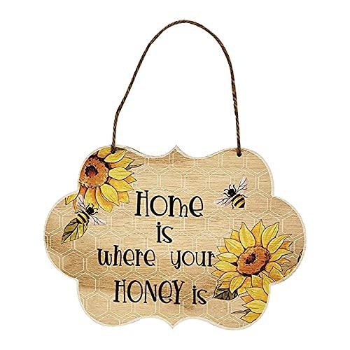 AMAZING1 Señal de bienvenida para puerta delantera, Home is Where Your Honey is Printed Vertical Farmhouse Hanging Welcome Sign for Spring Front Porch Decor