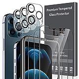 L K【6枚セット】iPhone 12 Pro Max ガラスフィルム 6.7インチ対応 3枚 + iPhone 12 Pro Max カメラフィルム 3枚「貼り付けやすい/硬度9H/高透過率/飛散防止/気泡防止/3Dタッチ対応」アイフォン 12 Pro Max ガラスフィルム カメラフィルム レンズフィルム