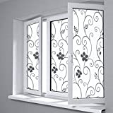 Película de Ventana con diseño Floral de privacidad esmerilada, Adecuada para Dormitorio Familiar, baño, balcón, decoración de Sala de Estar O 60x300cm