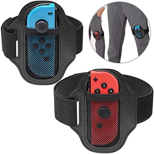 [2 Pack] Courroie de jambe Compatible avec Nintendo Switch Ring Fit Adventure Game, Ajustable Mouvement Sport élastique Bande de jambe pour Joy-Con
