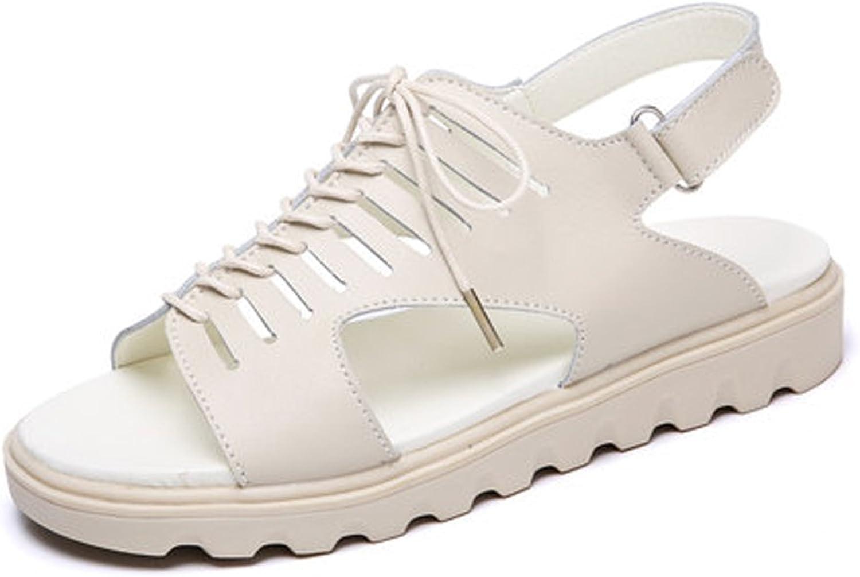 YUBIN Sandals Women Flat Retro Rome Lace Student Wild Beach shoes (color   Beige, Size   39)