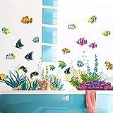 Pegatinas de pared coloridas de peces submarinos de dibujos animados para habitación de niños, decoración de baño, papel tapiz, Mural, pegatinas de ventana de vidrio extraíbles