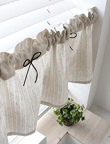 Tenda in lino naturale da cucina Valances, fatta a mano, stile rurale europeo, per le finestre della vostra casa, pezzo singolo, larghezza 30 cm x lunghezza 135 cm