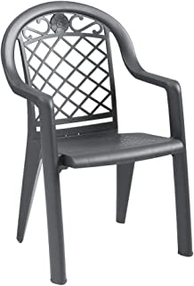 Grosfillex US413102 Savannah Highback Stacking Armchair, Charcoal Color (Case of 4)