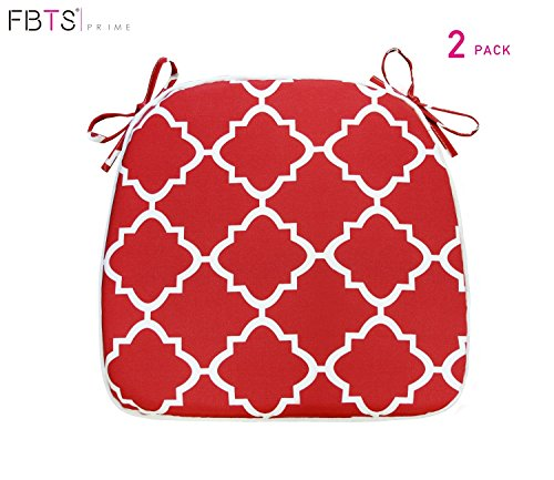 FBTS Prime Outdoor Chair Cushions (Set of 2) 16x17 Inches Patio Seat Cushions Red Square Chair Pads for Outdoor Patio Furniture Garden Home Office