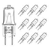 G8 Halogen Light Bulbs 35W 120V G8 Base 2Pin Dimmable Xenon Bulb T4 JCD Type Warm White 2700K for Kitchen Hood, Landscape Lights, Desk and Floor Lamps, Wall Sconces (10 Pack)