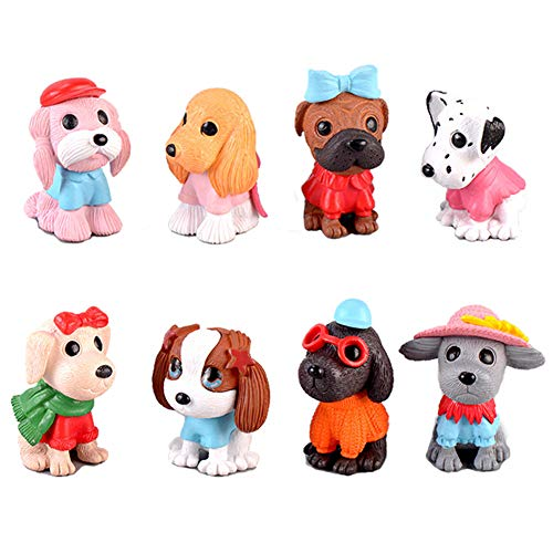 Deqian 8pcs Dog Figures for Kids, Cake Toppers, Fairy Garden Miniature Figurines Figurines Collection Playset for Christmas Birthday Gift Desk Decorations