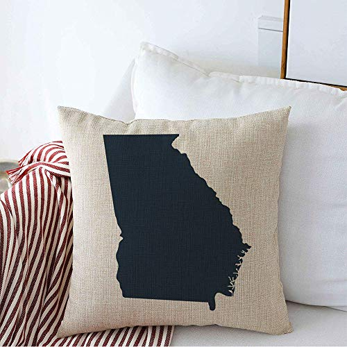 Pillow Cover Line Gray Abstract Shaded Map Silhouette Us State Georgia Shape Area Region Beam Border Federated Soft Linen Decorative Square Throw Pillow Cover 16x16 Inch for Couch car Decoration