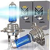 Mega Racer 2 x Headlight Bulb H7 Halogen Headlight Bulb 12V 100W 5000K Hi/Lo Super Ultra White 2 x High Beam Low Beam Headlight Bulb Xenon H7 Car Headlight Bulbs H7 Motorcycle