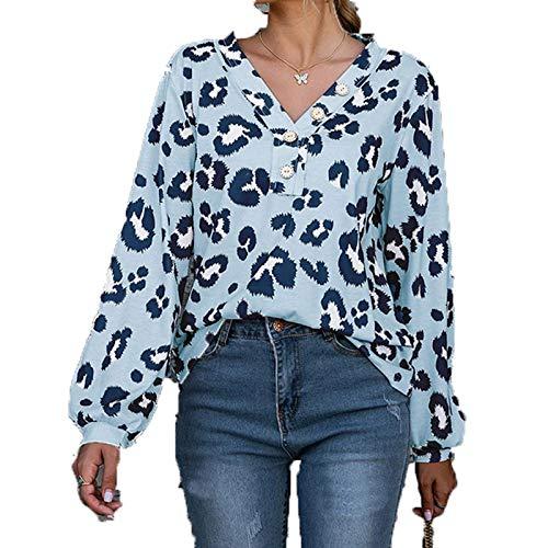 SLYZ 2021 Primavera Nuevas Señoras Estampado De Leopardo Camiseta De Manga Larga Blusa Casual De Todo Fósforo Mujeres
