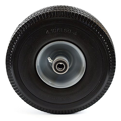 NK Heavy Duty Solid Rubber Flat Free Tubeless Hand Truck/Utility Tire Wheel, 4.10/3.50-4