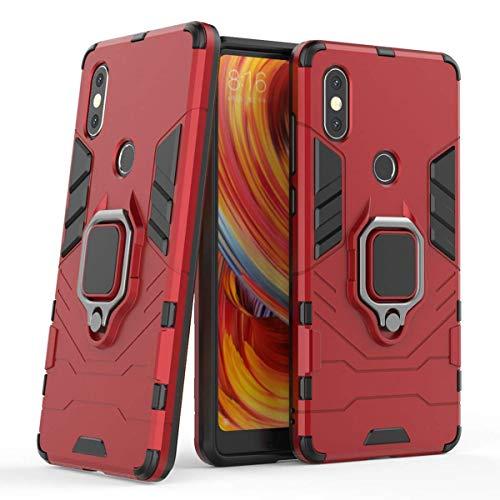 LuluMain Kompatibel mit Xiaomi Mi Mix 2S Hülle, Ring Ständer Magnetischer Handyhalter Auto Hülleme Schutzhülle Hülle für Xiaomi Mi Mix 2S (Rot)