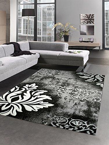 Modern tapis poil ras tapis de salon baroque noir gris blanc Größe 80x150 cm