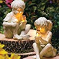The Lakeside Collection Ceramic Boy with Solar Lighted Firefly Jar Boy Girl Statue Whimsical Garden Yard Outdoor Sculpture Decor The Lakeside Collection Ceramic Decorative Statue (Boy+Girl)