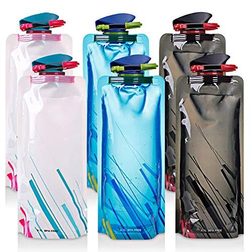 JAHEMU Bottiglia d'Acqua Pieghevole in plastica Riutilizzabile Borracce 700ML Collapsible Water Bottles Borraccia Sportiva per Escursionismo Adventures Viaggi Campeggio 6 Pezzi