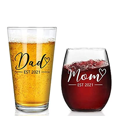 New Parents Gift - Mom & Dad EST 2021 Stemless Wine Glass and Beer Glass Set for Parents To Be Mom Dad Friend, Perfect Present for Mother's Day Father's Day Baby Shower Christmas Birthday Daily Use from