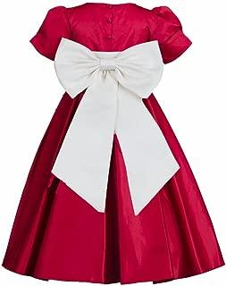 Pink Promise Girl's Apple Red Holiday Wedding Pleated Satin Short- Sleeve Flower Girl Dress