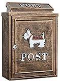 LUCKY Buzón, Resistente a la Intemperie Exterior del buzón de Correos, jardín al Aire Libre Creativo Buzón de Pared rectángulo del Bloqueo de buzón Europea Carta, Periódico Box, 11,1 * 4,9 * 16.1in