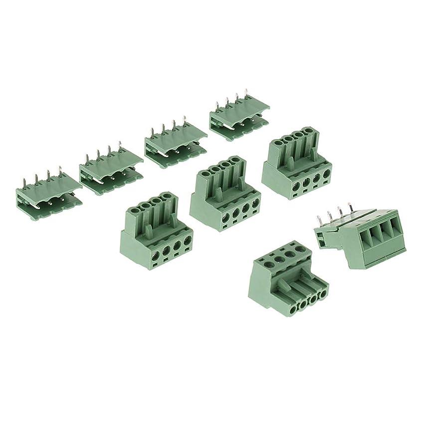 める持つとても5個 直角 プラグイン 端子コネクタ 4ピン 2EDG 5.08 mmピッチ