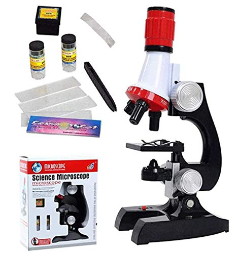 Kids Beginner Microscope Kit Science Kits Scientific Instrument Educational Tool Toy LED 100X, 400x, 1200x Magnification Children Early Education Biological Magnifying Glass for Boys Girls Students