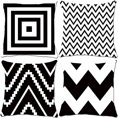 Fundas de cojín de arte moderno abstracto, 38 x 48 cm, diseño de doble cara, juego de 4 fundas de cojín suaves geométricas para coche, hogar, oficina, sofá, decoración (ondas en blanco y negro).