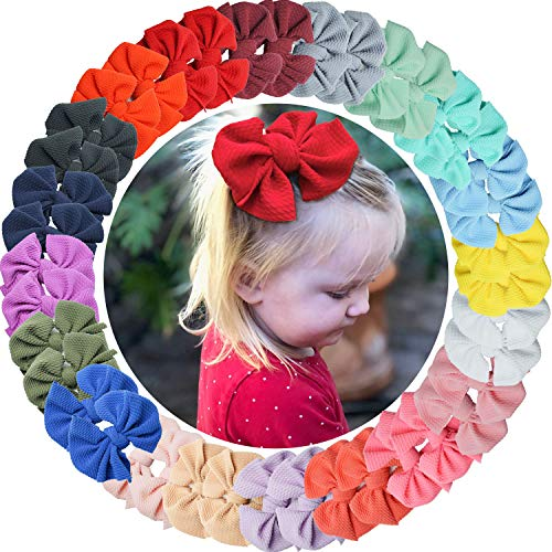 """DeD 40 Pieces 4"""" Baby Girls Hair Bows With Alligator Clips Twill Fabric Bows Hair Barrettes for Girls Toddler Infants Kids In Pairs"""
