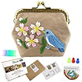 Chinese Traditional Embroidery Purse Making Kits Retro Style Handmade Bag Mini Cosmetic Bag for Woman and Girls (Singing Bird)