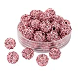 PH PandaHall About 100 Pcs 8mm Clay Pave Disco Ball Czech Crystal Rhinestone Shamballa Beads Charm Round Spacer Bead for Jewelry Making Light Rose