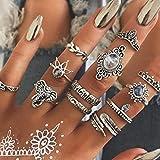 Aukmla Lot de 12 bagues de phalanges vintage en argent avec motif éléphant empilable et cristal pour femmes et filles