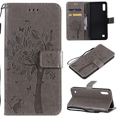 Zchen Samsung Galaxy A10 Hülle, Kunstleder Portemonnaie Handy-Schutzhülle Book Flip Design Klapphülle Etui Tasche für Samsung Galaxy A10/M10 (Katze-Grau)