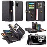 CHENDX Funda para Samsung Galaxy S20, multifuncional híbrido cuero monedero, [cubierta trasera desmontable delgada] titular de la tarjeta con cremallera bolsa (color: negro)