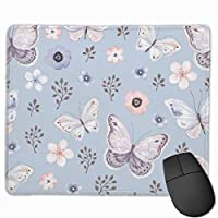 マウスパッド オフィス 最適 蝶 紫 花 水彩画 上品 ゲーミング 光学式マウス対応 防水性 耐久性 滑り止め 多機能 標準サイズ25cm×30cm