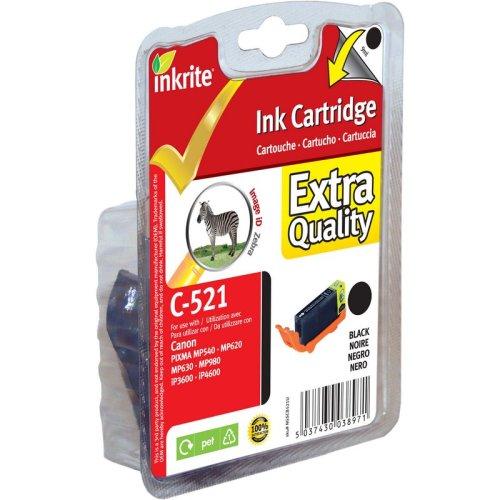 Inkrite Printer Inkt Voor Canon Mp980 Mp620 Mp630 Mp540 Ip4600 Ip3600- Cli-521bk Zwart (zebra) - NGSCB521u